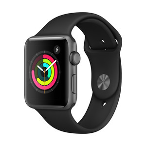 APPLE Watch Series 3, 42 mm, GPS, Sportarmband, Grau/Schwarz