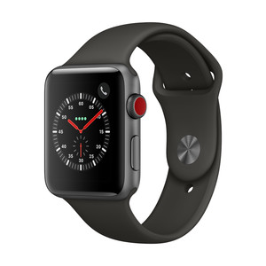 APPLE Watch Series 3, 42 mm, GPS + Cellular, Aluminiumgehäuse, Space Grau, mit Sportarmband, Grau