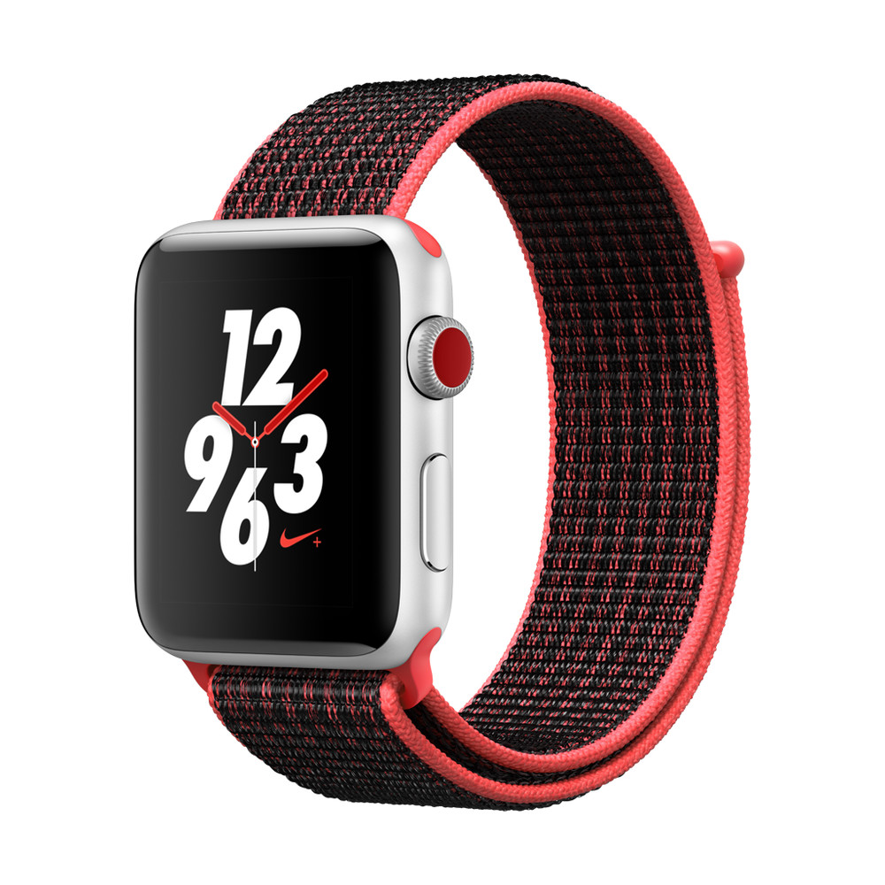 APPLE Watch Nike+ Cellular 42mm, Silber, Bright Crimson/Schwarz