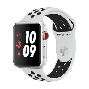 APPLE Watch Nike+ Cellular 42mm, Silber, Pure Platinum/Schwarz
