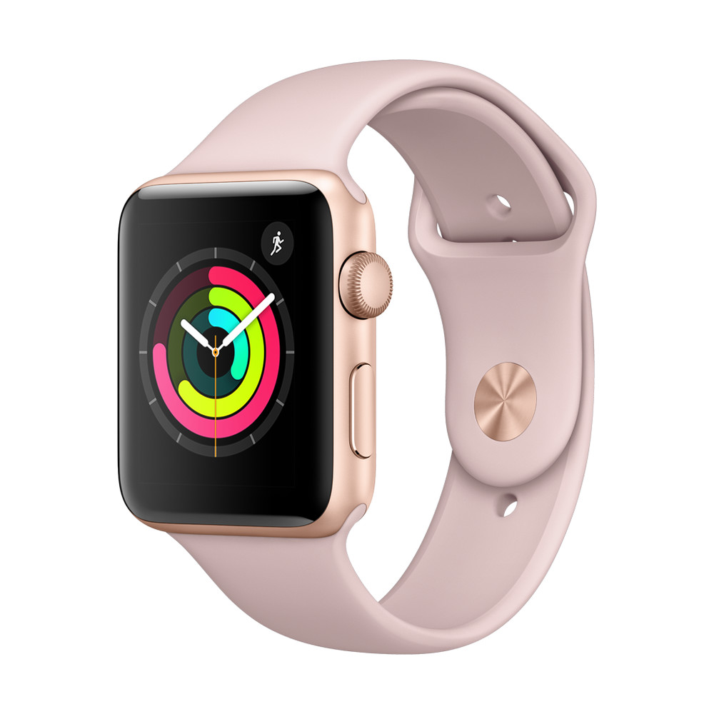 APPLE Watch Series 3, 42 mm, GPS, Sportarmband, Gold/Sandrosa