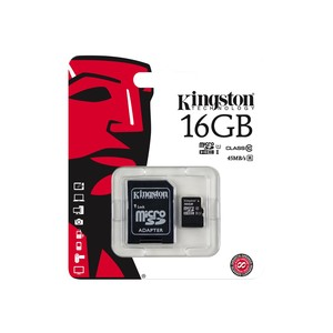 KINGSTON Flash Card + micro SDHC/SD-Adapter, 16 GB