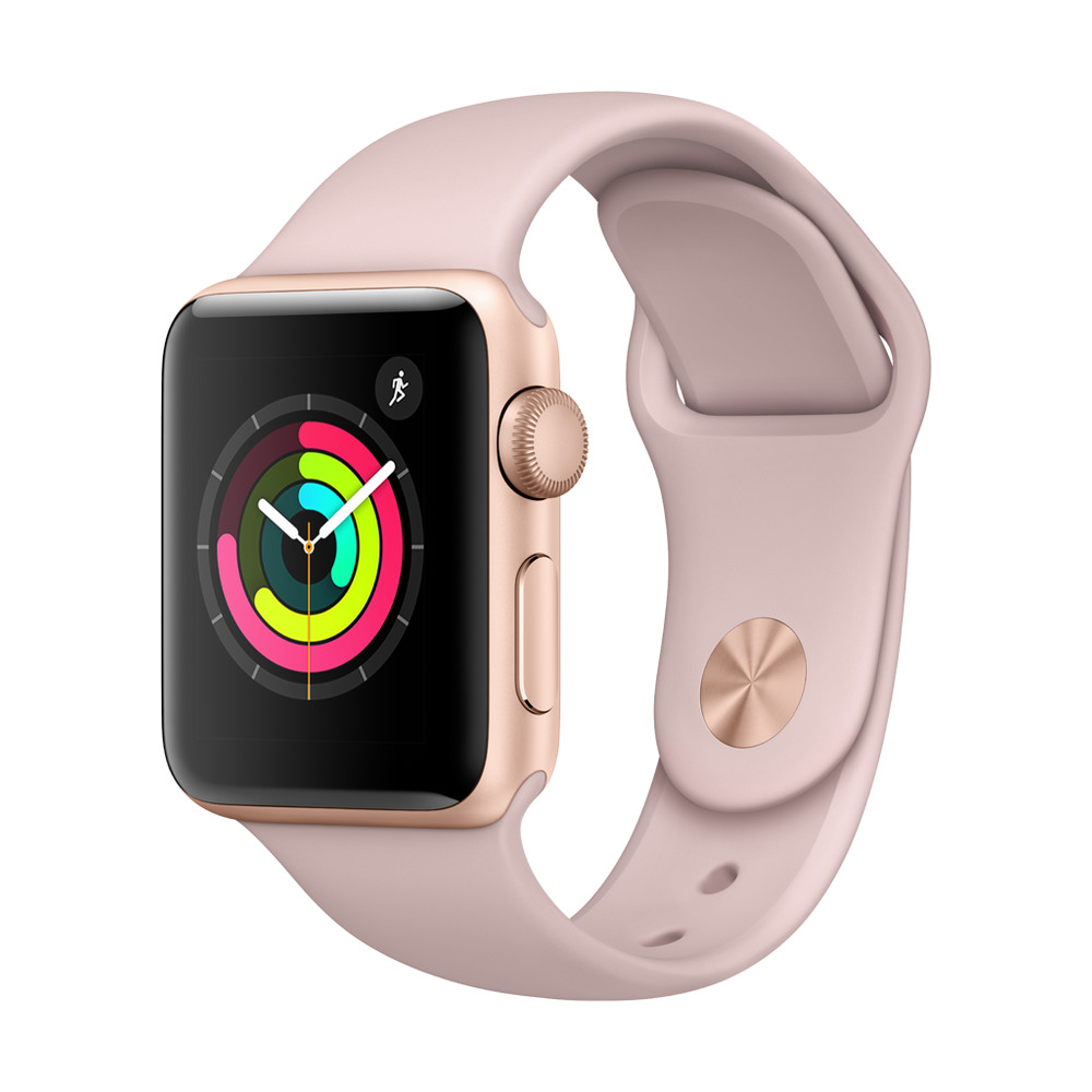 APPLE Watch Series 3, 38 mm, GPS, Aluminiumgehäuse, Gold, mit Sportarmband, Sandrosa