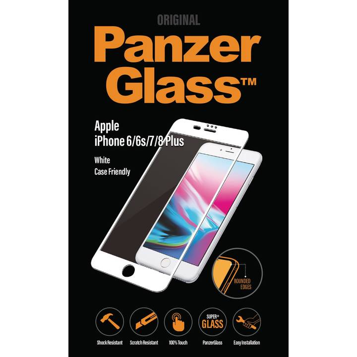 PANZERGLASS Screen Protector, iPhone 6 Plus / 6s Plus / 7 Plus / 8 Plus, White