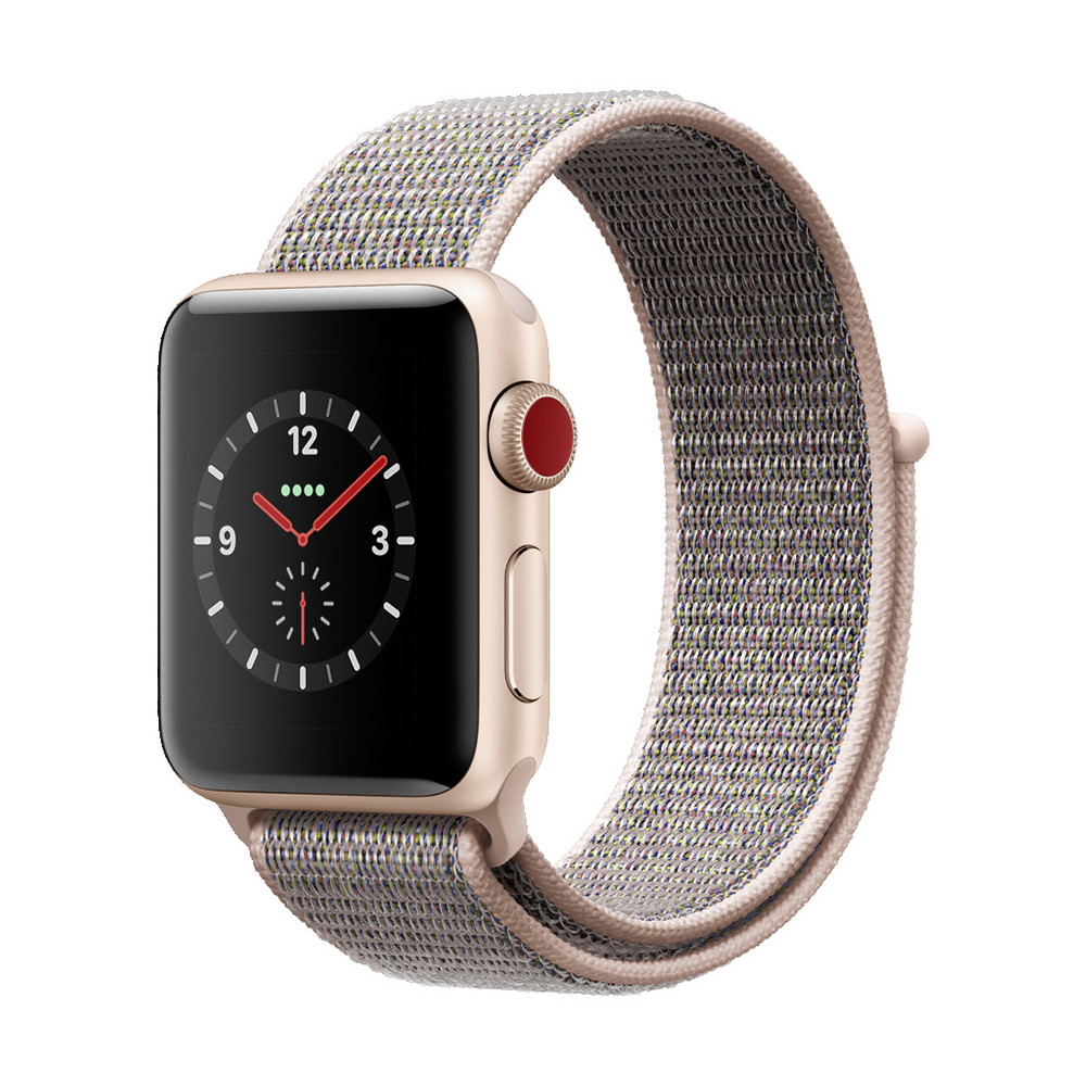 APPLE Watch Series 3, 38 mm, GPS + Cellular, Aluminiumgehäuse, Gold, mit Sport Loop, Sandrosa