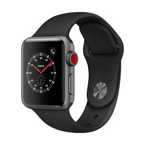 APPLE Watch Series 3, 38 mm, GPS + Cellular, Aluminiumgehäuse, Space Grau, mit Sportarmband, Schwarz