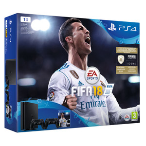 SONY Playstation 4 Slim 1 TB Black Fifa 18+ 2 Dualshock Wireless DFI