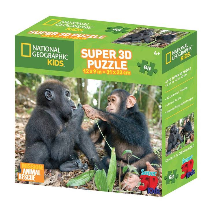 National Geo 3D Puzzle Schimpanse&Gorill