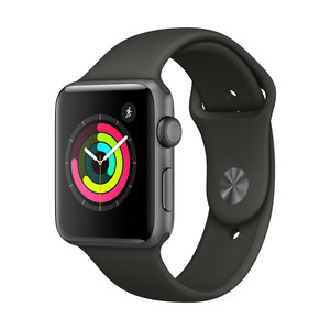 APPLE Watch Series 3, 42 mm, GPS, Sportarmband, Grau/Grau