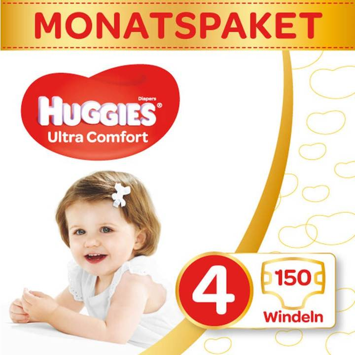 HUGGIES Couches Ultra Confort boîte mensuelle taille 4