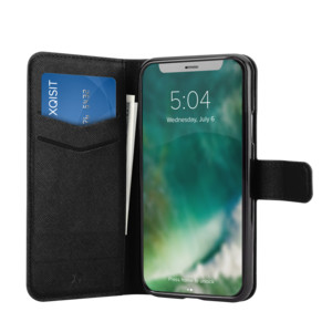 XQISIT Walletcase für iPhone X Black