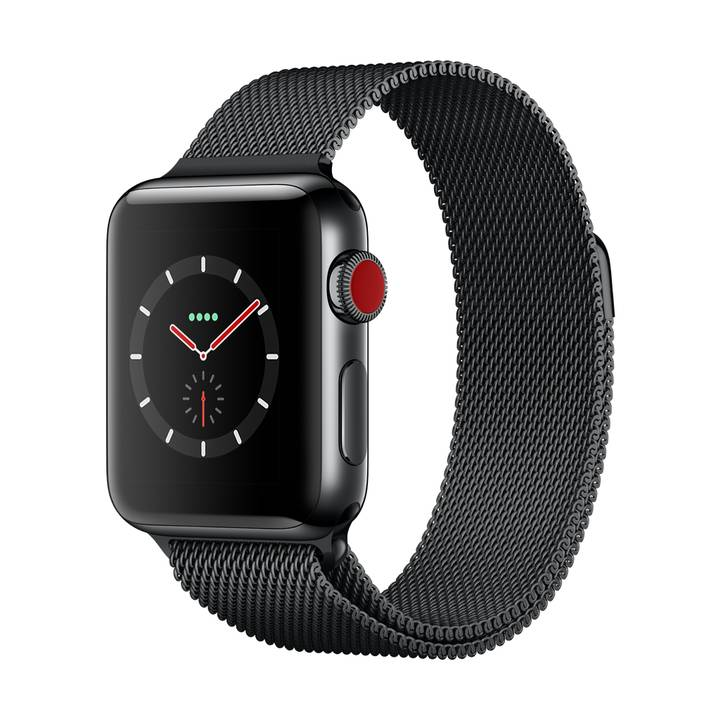 Orologio APPLE Serie 3, 38 mm, GPS + Cellular, cassa in acciaio inossidabile, Space Black, con bracciale Milanaise, Space Black