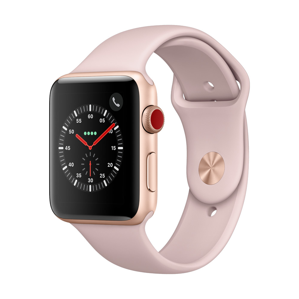 APPLE Watch Series 3, 42 mm, GPS + Cellular, Aluminiumgehäuse, Gold, mit Sportarmband, Sandrosa