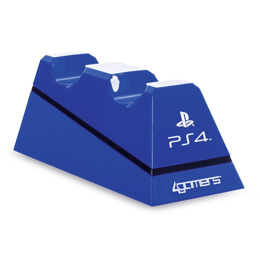 4GAMERS PS4 Dual Charge'n'Stand blue