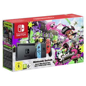 NINTENDO SWITCH Neon Blue & Red Inkl. Splatoon