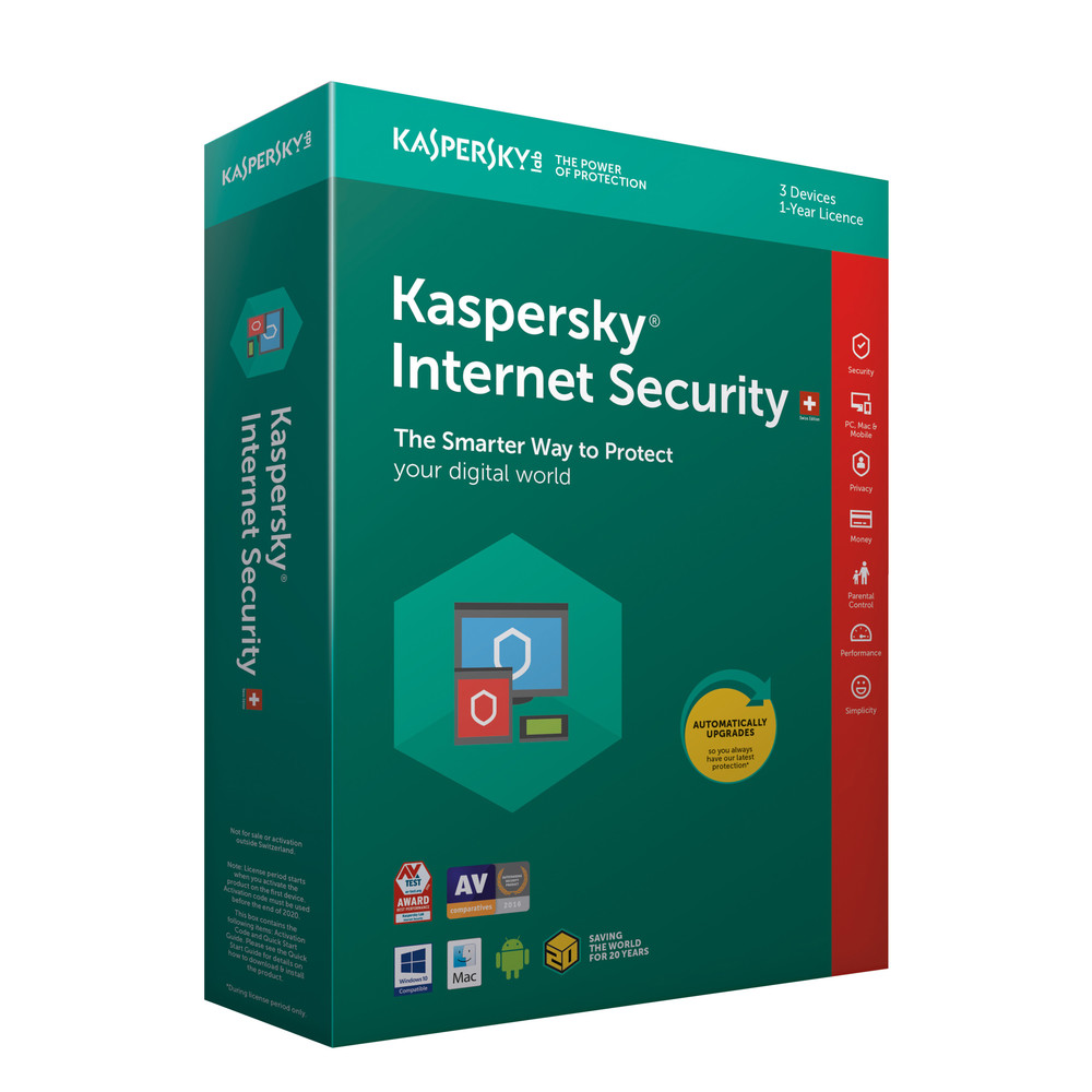 KASPERSKY Internet Security Swiss Edition 3 User für 1 Jahr