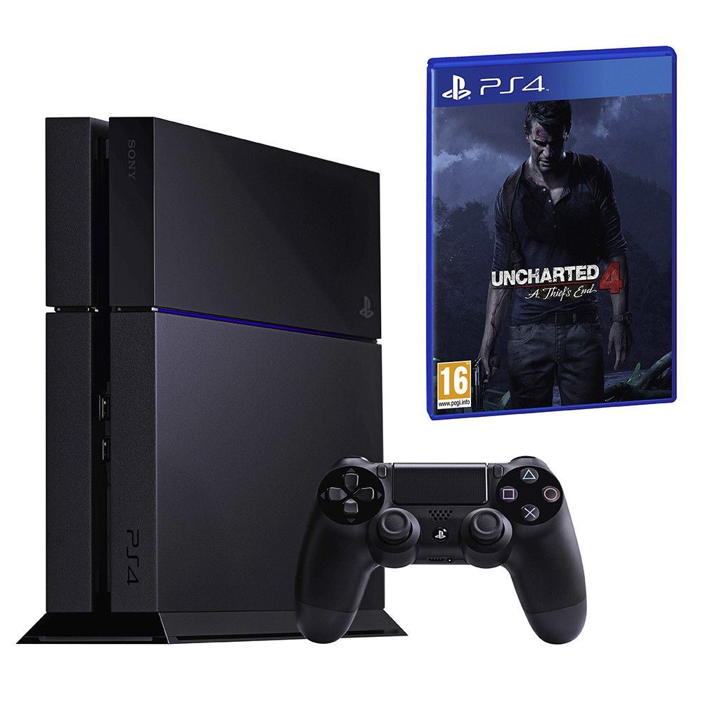SONY Playstation 4 New Black C-Chassis 1 TB Bundle inkl. Uncharted 4