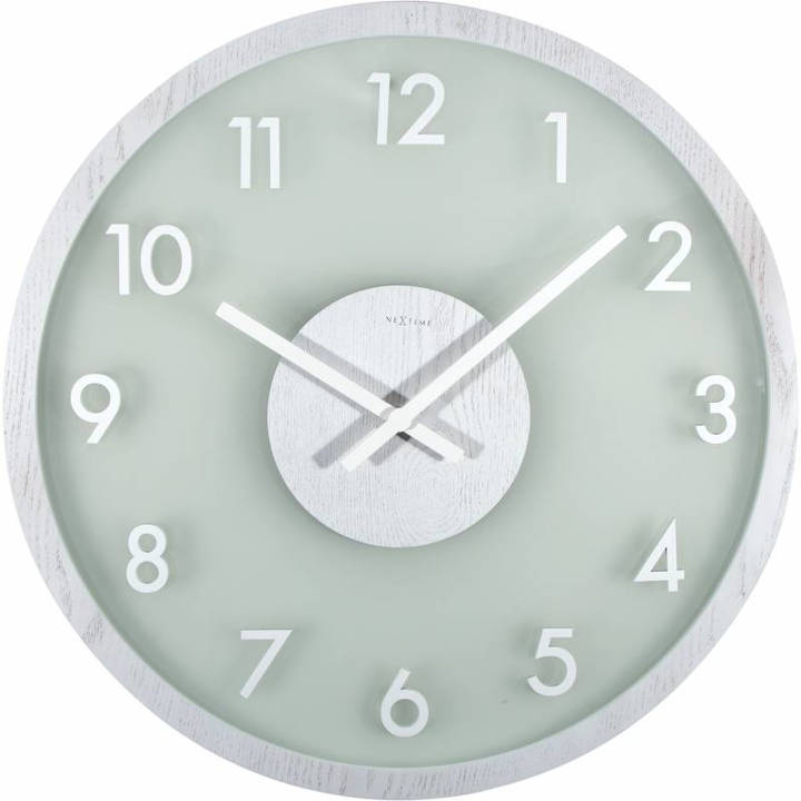 NexTime Wanduhr Frosted Wood Weiss Durch