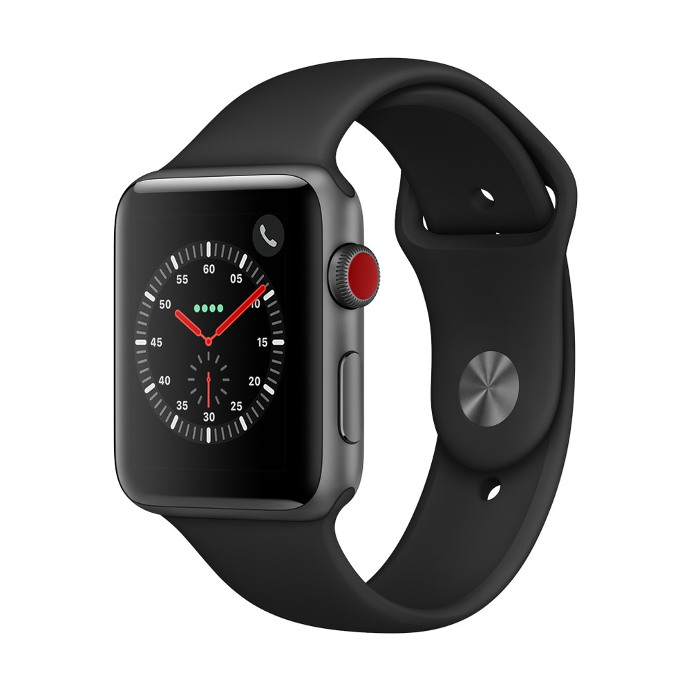 APPLE Watch Series 3, 42 mm, GPS + Cellular, Aluminiumgehäuse, Space Grau, mit Sportarmband, Schwarz