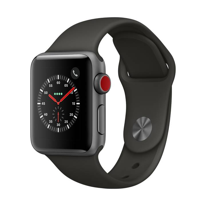 APPLE Watch Series 3, 38 mm, GPS + Cellular, Aluminiumgehäuse, Space Grau, mit Sportarmband, Grau