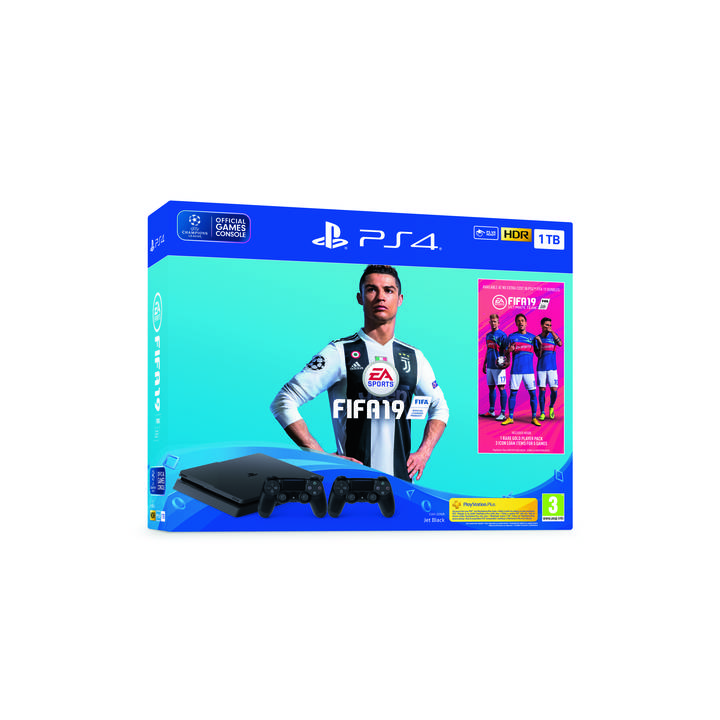 SONY Playstation 4 1 TB + Fifa 19 + 2 Dualshock Wireless Controller + PS Plus Voucher