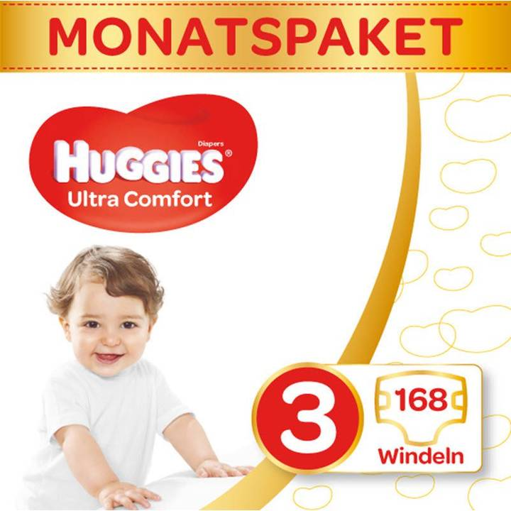 HUGGIES Couches Ultra Confort boîte mensuelle taille 3