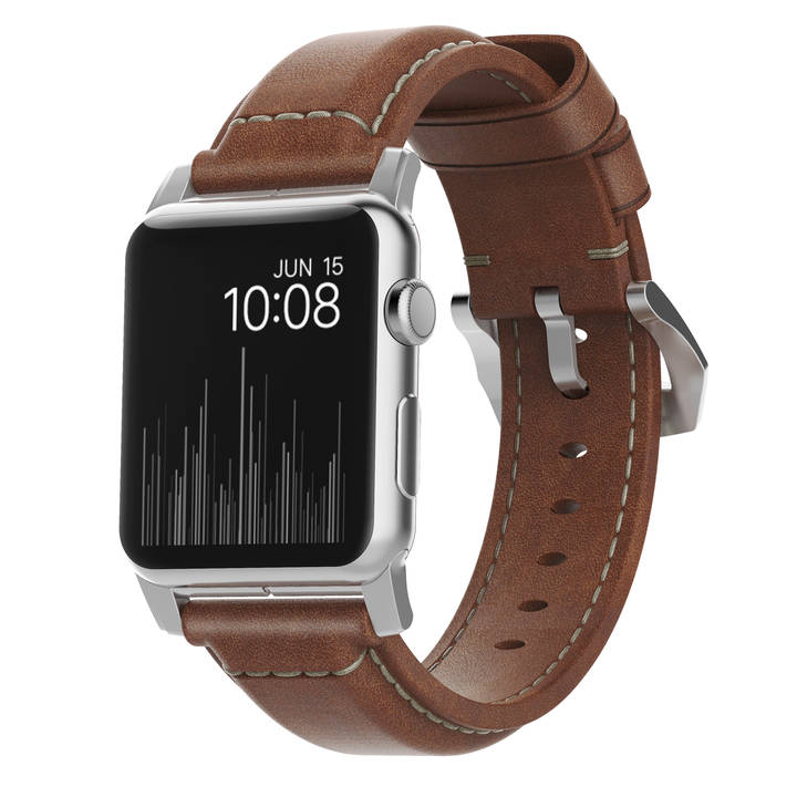 NOMAD Traditional Strap 42 mm brown/silver