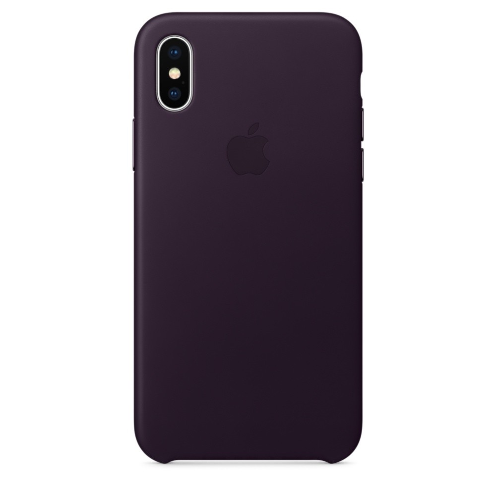 APPLE iPhone X Leder Case Dunkelaubergine