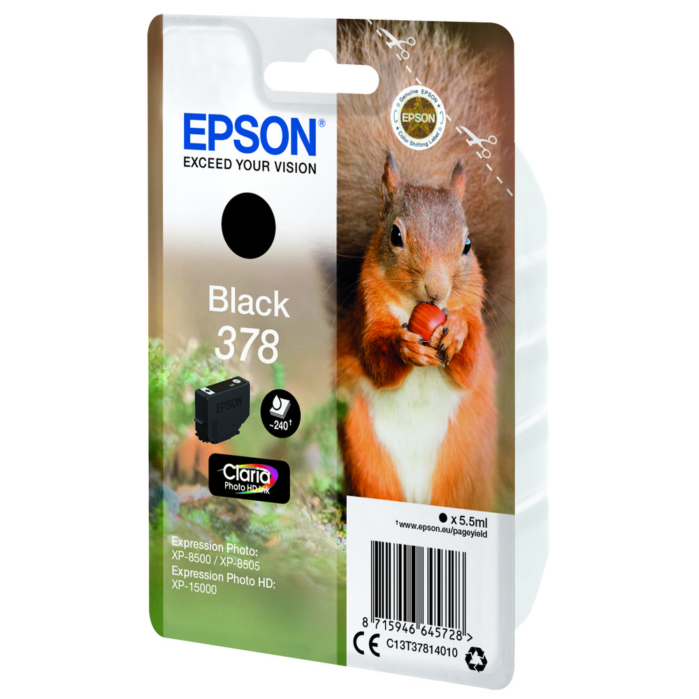 EPSON Singlepack Black 378 Squirrel Clar