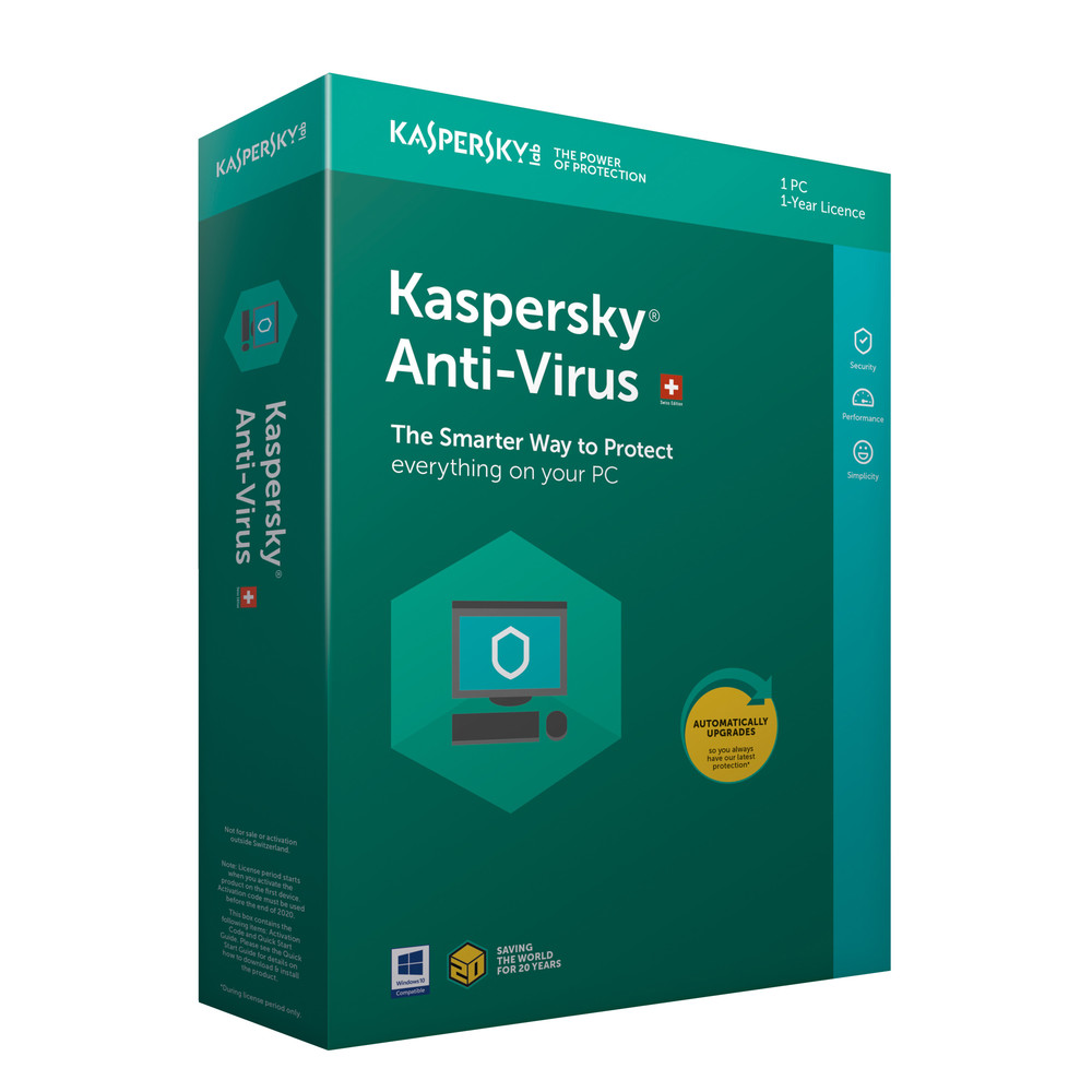 KASPERSKY Antivirus Swiss Edition 1 PC / 1 Jahr Vollversion (DFI)