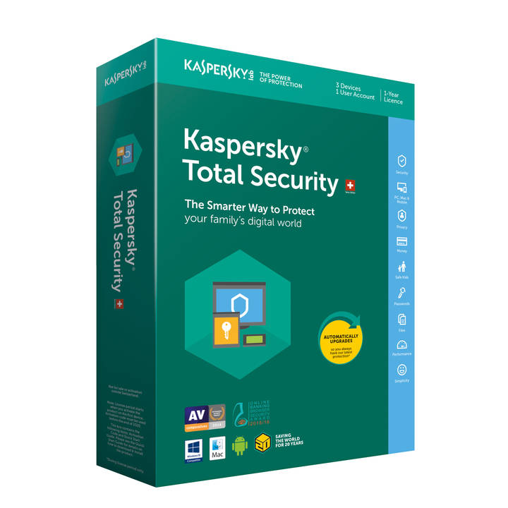 KASPERSKY Total Security Swiss Edition 3 User für 1 Jahr (Version DFI)